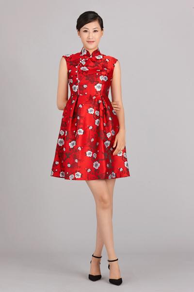 红黛花连衣裙