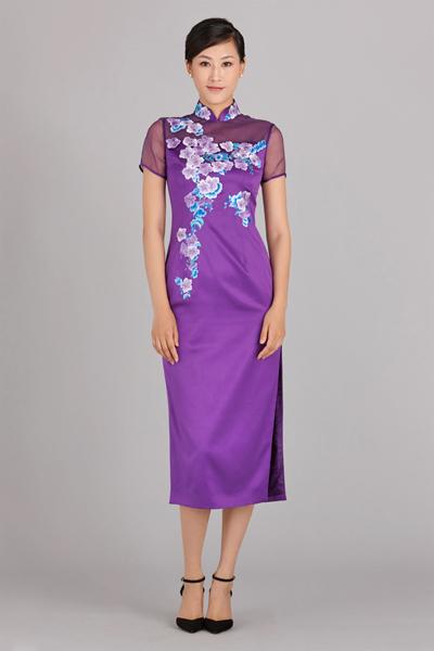 怀紫长款旗袍