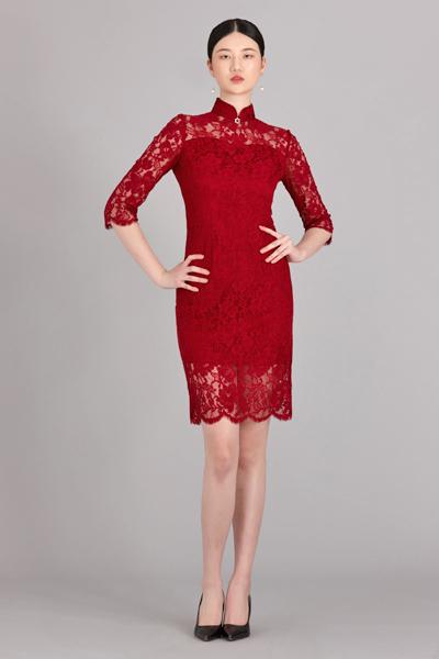 红颜短款旗袍