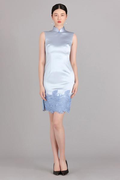 蓝色海风短款旗袍