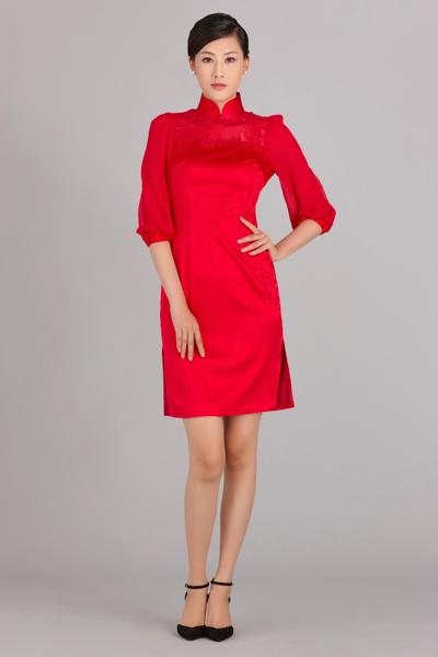 黛丽短款旗袍
