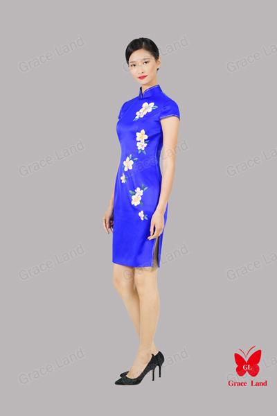 法国GL烘炉观梅真丝旗袍