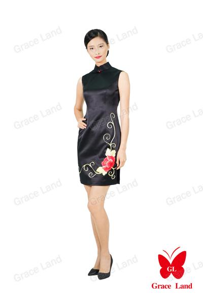 法国GL烘炉观梅真丝宴会旗袍