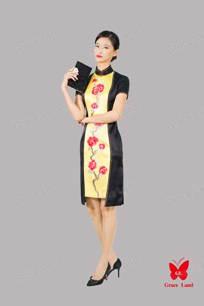 法国GL烘炉观梅旗袍真丝旗袍 宴会礼服