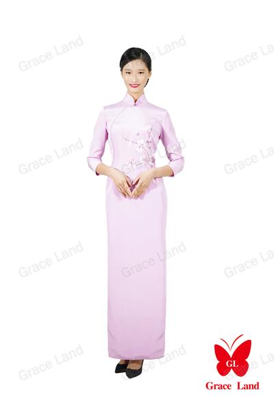 法国GL玉兰望春传统真丝旗袍